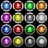 Download white icons in round glossy buttons on black background - Download white icons in round glossy buttons with steel frames on black background. The buttons are in two different styles and eight colors.