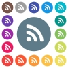 Radio signal flat white icons on round color backgrounds - Radio signal flat white icons on round color backgrounds. 17 background color variations are included.