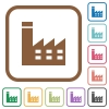 Factory building simple icons - Factory building simple icons in color rounded square frames on white background