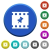 Pin movie beveled buttons - Pin movie round color beveled buttons with smooth surfaces and flat white icons