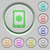 Mobile media record push buttons - Mobile media record color icons on sunk push buttons