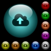 Cloud upload icons in color illuminated glass buttons - Cloud upload icons in color illuminated spherical glass buttons on black background. Can be used to black or dark templates