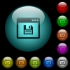 Save application icons in color illuminated glass buttons - Save application icons in color illuminated spherical glass buttons on black background. Can be used to black or dark templates