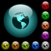 Earth icons in color illuminated glass buttons - Earth icons in color illuminated spherical glass buttons on black background. Can be used to black or dark templates