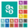 Euro Bitcoin money exchange square flat multi colored icons - Euro Bitcoin money exchange multi colored flat icons on plain square backgrounds. Included white and darker icon variations for hover or active effects.