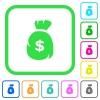 Dollar money bag vivid colored flat icons - Dollar money bag vivid colored flat icons in curved borders on white background