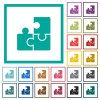Puzzles flat color icons with quadrant frames - Puzzles flat color icons with quadrant frames on white background