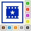Mark movie flat framed icons - Mark movie flat color icons in square frames on white background
