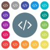 Script code flat white icons on round color backgrounds - Script code flat white icons on round color backgrounds. 17 background color variations are included.