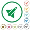 Space shuttle flat icons with outlines - Space shuttle flat color icons in round outlines on white background