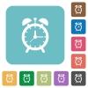 Alarm clock rounded square flat icons - Alarm clock white flat icons on color rounded square backgrounds