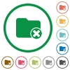 Cancel directory flat icons with outlines - Cancel directory flat color icons in round outlines on white background