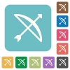 Bow with arrow rounded square flat icons - Bow with arrow white flat icons on color rounded square backgrounds
