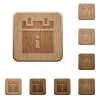 Schedule info on rounded square carved wooden button styles - Schedule info wooden buttons