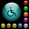 Disability icons in color illuminated spherical glass buttons on black background. Can be used to black or dark templates - Disability icons in color illuminated glass buttons