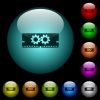 Memory optimization icons in color illuminated glass buttons - Memory optimization icons in color illuminated spherical glass buttons on black background. Can be used to black or dark templates