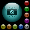 Hardware disabled icons in color illuminated glass buttons - Hardware disabled icons in color illuminated spherical glass buttons on black background. Can be used to black or dark templates