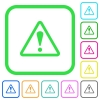 Triangle shaped warning sign vivid colored flat icons - Triangle shaped warning sign vivid colored flat icons in curved borders on white background