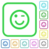 Winking emoticon vivid colored flat icons - Winking emoticon vivid colored flat icons in curved borders on white background
