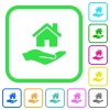 Home insurance vivid colored flat icons - Home insurance vivid colored flat icons in curved borders on white background