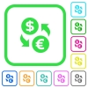 Dollar Euro money exchange vivid colored flat icons - Dollar Euro money exchange vivid colored flat icons in curved borders on white background