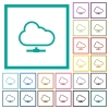 Cloud network flat color icons with quadrant frames - Cloud network flat color icons with quadrant frames on white background