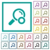 Trusted search flat color icons with quadrant frames - Trusted search flat color icons with quadrant frames on white background