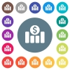 Dollar financial graph flat white icons on round color backgrounds - Dollar financial graph flat white icons on round color backgrounds. 17 background color variations are included.