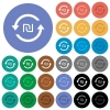 New Shekel pay back round flat multi colored icons - New Shekel pay back multi colored flat icons on round backgrounds. Included white, light and dark icon variations for hover and active status effects, and bonus shades on black backgounds.