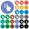 Typing security code round flat multi colored icons - Typing security code multi colored flat icons on round backgrounds. Included white, light and dark icon variations for hover and active status effects, and bonus shades on black backgounds.