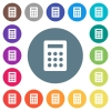 Calculator flat white icons on round color backgrounds - Calculator flat white icons on round color backgrounds. 17 background color variations are included.