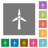 Wind turbine square flat icons - Wind turbine flat icons on simple color square backgrounds