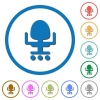 Office chair icons with shadows and outlines - Office chair flat color vector icons with shadows in round outlines on white background