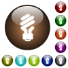 Energy saving fluorescent light bulb white icons on round color glass buttons