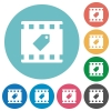 Tag movie flat round icons - Tag movie flat white icons on round color backgrounds