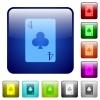 four of clubs card color square buttons - four of clubs card icons in rounded square color glossy button set