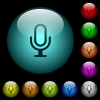 Microphone icons in color illuminated glass buttons - Microphone icons in color illuminated spherical glass buttons on black background. Can be used to black or dark templates