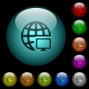 Remote terminal icons in color illuminated glass buttons - Remote terminal icons in color illuminated spherical glass buttons on black background. Can be used to black or dark templates