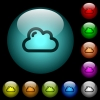 Single cloud icons in color illuminated spherical glass buttons on black background. Can be used to black or dark templates - Single cloud icons in color illuminated glass buttons