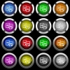 Share documents white icons in round glossy buttons on black background - Share documents white icons in round glossy buttons with steel frames on black background. The buttons are in two different styles and eight colors.