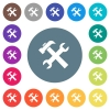 Wrench and hammer flat white icons on round color backgrounds - Wrench and hammer flat white icons on round color backgrounds. 17 background color variations are included.