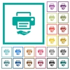 Shared printer flat color icons with quadrant frames - Shared printer flat color icons with quadrant frames on white background