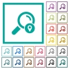 Search location flat color icons with quadrant frames - Search location flat color icons with quadrant frames on white background