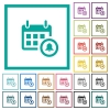 Calendar alarm flat color icons with quadrant frames - Calendar alarm flat color icons with quadrant frames on white background