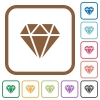 Diamond simple icons - Diamond simple icons in color rounded square frames on white background