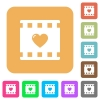 Favorite movie flat icons on rounded square vivid color backgrounds. - Favorite movie rounded square flat icons