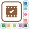 Movie ok simple icons in color rounded square frames on white background