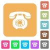 Vintage retro telephone rounded square flat icons - Vintage retro telephone flat icons on rounded square vivid color backgrounds.