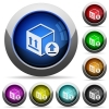 Package delivery round glossy buttons - Package delivery icons in round glossy buttons with steel frames