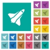 Space shuttle square flat multi colored icons - Space shuttle multi colored flat icons on plain square backgrounds. Included white and darker icon variations for hover or active effects.